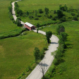 Rob Huntley - Aerial View of Red Covered Bridge