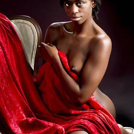 Kendree Miller - African Nude Kneeling on Chair 1191.02