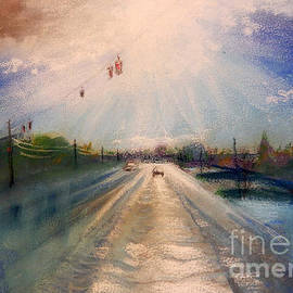Yoshiko Mishina - After Rain -on the Michigan Ave. Saline Michigan-pastel