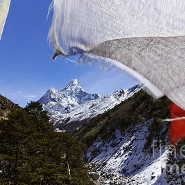 Robert Preston - Ama Dadlam mountain and prayer flags in the Everest Region of Nepal
