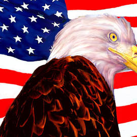 Bob and Nadine Johnston - American Flag - Bald Eagle
