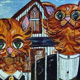 Eloise Schneider - American Gothic Cats - A Parody