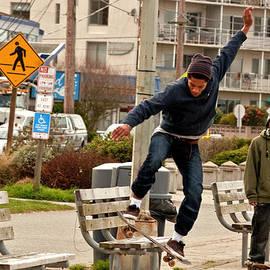Valerie Garner - American Skateboarder in City Action Shot