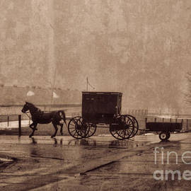 David Arment - Amish Horse and Buggy with Wagon BW