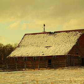 Jeff  Swan - An Old Barn Just After An Early Spring Snow In Keene North Dakota