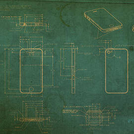 Design Turnpike - Apple iPhone Vintage Retro Blueprints Plans on Worn Distressed Canvas