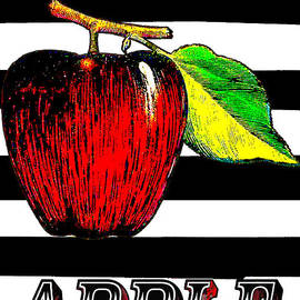 ArtyZen Home - Apple on Black White Stripes Art Print