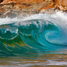 Nature  Photographer - Aqua Crush - A single wave breaks with an aqua coloring