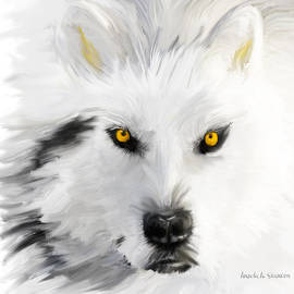 Angela A Stanton - Arctic Wolf with Yellow Eyes