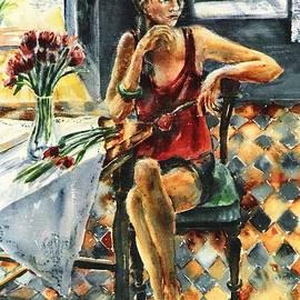 Trudi Doyle - Arranging Red Tulips