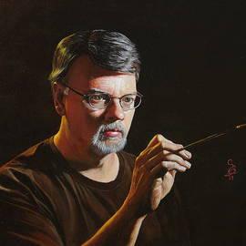 Glenn Beasley - At The Easel Self Portrait