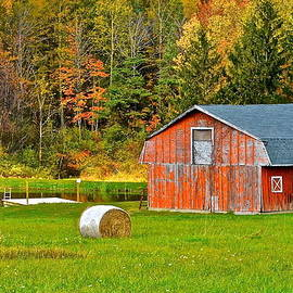 Frozen in Time Fine Art Photography - Autumn Barn and Bales of Hay