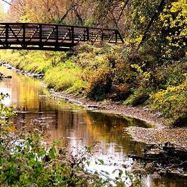 Karen  Majkrzak - Autumn Bridge over Creek