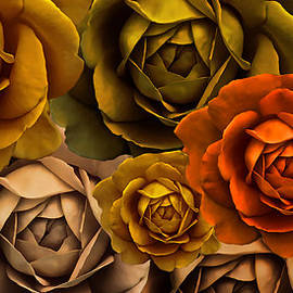 Jennie Marie Schell - Golden Autumn Rose Flower Abstract