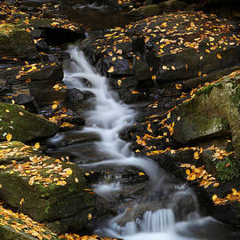 Juergen Roth - Autumn Cascade at Chesterfield Gorge - New Hampshire