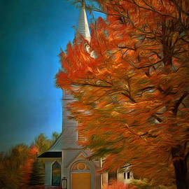 Jeff Folger - Autumn church digital art