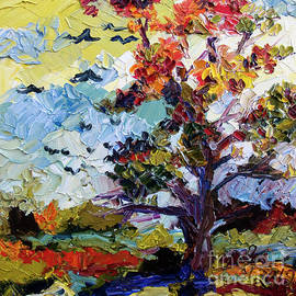 Ginette Callaway - Autumn Fire Leaves Turning Red Oil Painting