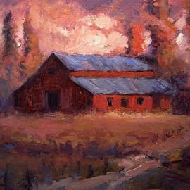 R W Goetting - Autumn light on the old barn