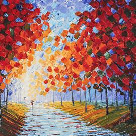 Georgeta Blanaru - Autumn Rainy Evening original palette knife painting