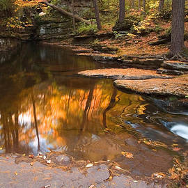 Gene Walls - Autumn Reflection At The Top of Adams Falls