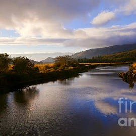 Jerry Cowart - Autumn Sunset Serene Salmon River Oregon Blue Clouds Reflection