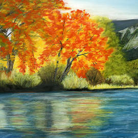 Sarah Dowson - Autumn Trees by a Mountain Lake