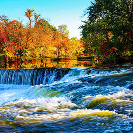 Jerry Cowart - Amazing Autumn Flowing Waterfalls On The River