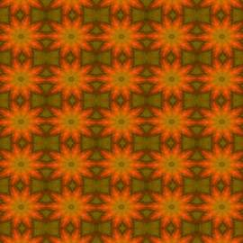 Tracey Harrington-Simpson - Autumnal Leaves Red and Green Repeating Pattern