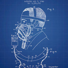Aged Pixel - Aviation Mask Patent from 1946 - Blueprint
