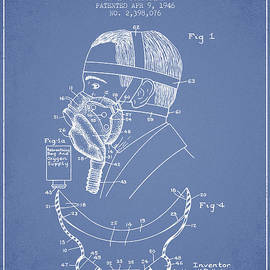 Aged Pixel - Aviation Mask Patent from 1946 - Light Blue
