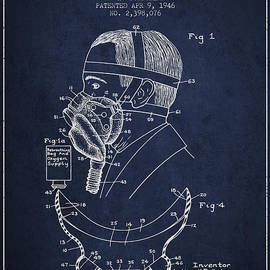 Aged Pixel - Aviation Mask Patent from 1946 - Navy Blue