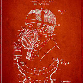 Aged Pixel - Aviation Mask Patent from 1946 - Red