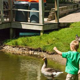 Robert Ford - Barefoot Kid feeding Ducks in Dutch Village Holland Michigan