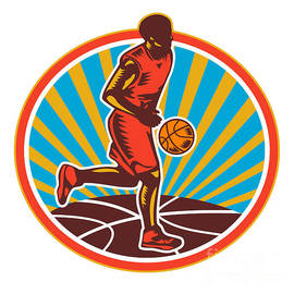 Aloysius Patrimonio - Basketball Player Dribbling Ball Woodcut Retro