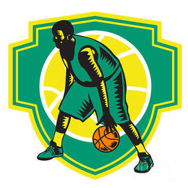 Aloysius Patrimonio - Basketball Player Dribbling Ball Woodcut Shield Retro