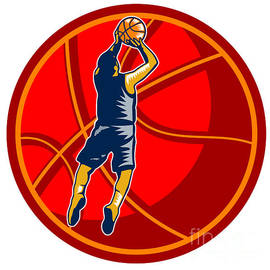 Aloysius Patrimonio - Basketball Player Jump Shot Ball Woodcut retro