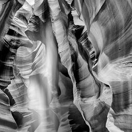 Susan  Schmitz - Beam of light in Upper Antelope Canyon in Black and White