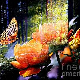 Annie Zeno - Beautiful Forest With Roses And Butterfly