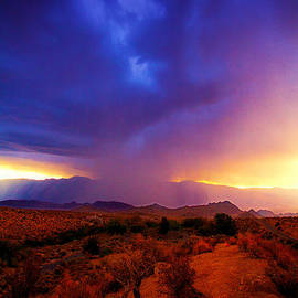 Jerry Cowart - Beautiful Rain Storm Sunrise in The scenic Desert With Dramatic Clouds