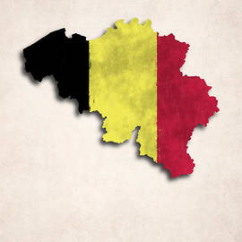 World Art Prints And Designs - Belgium Map Art with Flag Design