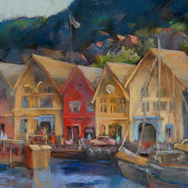 Joan  Jones - Bergen Bryggen in the Early Morning