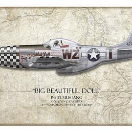 Craig Tinder - Big Beautiful Doll P-51D Mustang - Map Background