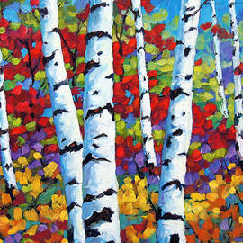 Richard T Pranke - Birches in abstract by Prankearts