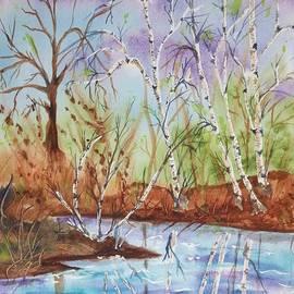 Ellen Levinson - Birches reflected in Kaaterskill Creek