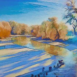 Yury Malkov - Birds on winter river
