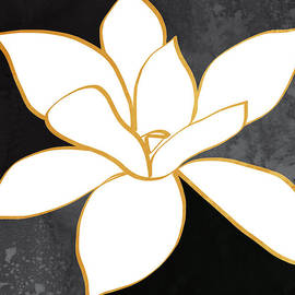 Linda Woods - Black and Gold Magnolia- floral art