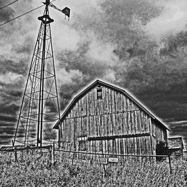 Minding My  Visions by Adri and Ray - Black and White No Trespassing Barn on the Farm Newspaper Style