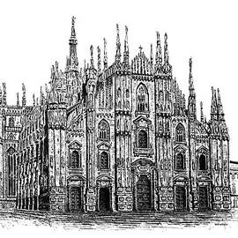 Mario  Perez - Black and White with Pen and Ink drawing of Milan Cathedral