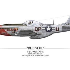 Craig Tinder - Blondie P-51D Mustang - White Background