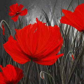 Lourry Legarde - Blood-Red Poppies - Red And Gray Art
